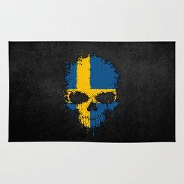 Flag of Sweden on a Chaotic Splatter Skull Rug