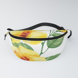 Yellow hibiscus tropical flowers design Fanny Pack