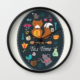 Tea Time with Mr Fox Wall Clock