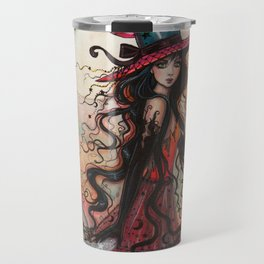 October Flame Halloween Witch and Black Cat Illustration Travel Mug