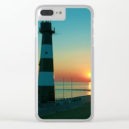 Sunset by the old Lighthouse in Breskens, Netherlands Clear iPhone Case
