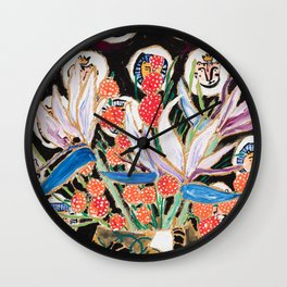 Lions and Tigers Dark Floral Still Life Painting Wall Clock