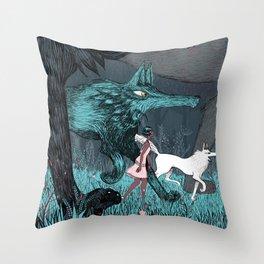 Woman Wolf wandering Throw Pillow