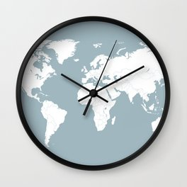 Minimalist World Map in Slate Blue Wall Clock