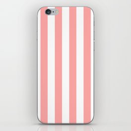 Coral Pink Stripe Vertical iPhone Skin