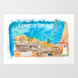 Camino Santiago St Jacques James Travel Poster Favorite Map Pilgrimage Highlights Art Print