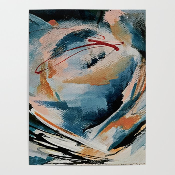 Drift 6: a bold mixed media piece in blues, brown, pink and red Poster