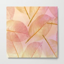 Pastel Fall Leaf Abstract Metal Print