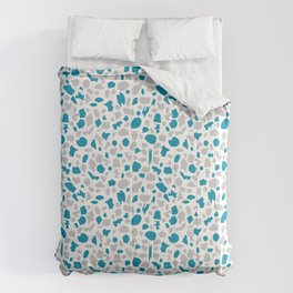 Terrazzo in Peacock Blue and Gray on White Comforters