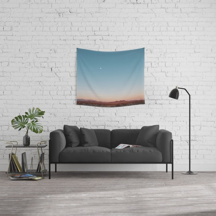 Desert Sky with Harvest Moon Wall Tapestry