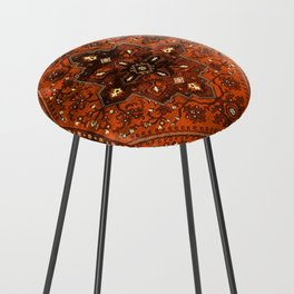 N151 - Orange Oriental Vintage Traditional Moroccan Style Artwork Counter Stool