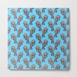 Blue Watercolor Manatee Pattern Metal Print
