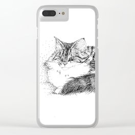 Maine Coon Cat - Pen and Ink Clear iPhone Case