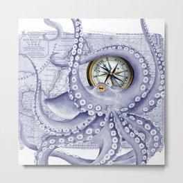 Purple Blue Octopus Compass Nautical Metal Print