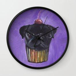 """Cherry on Pup"" Black Pug Cake Wall Clock"