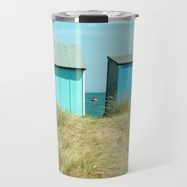 Sandy Dunes, beach huts & a buoy...English seaside Travel Mug