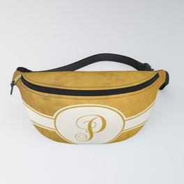 Monogram Letter P on Golden Textured Background Fanny Pack