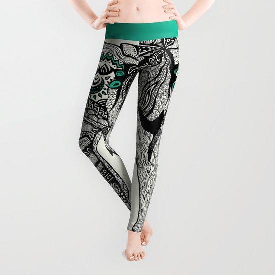 Tribal Elephant Black and White Version Leggings