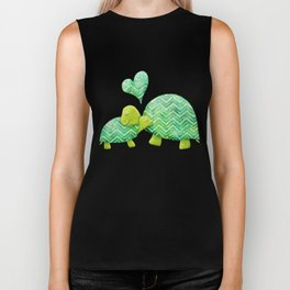Sweet Turtle Hugs with Heart in Teal and Lime Green Biker Tank