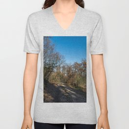 Autumnal path through the woods Unisex V-Neck