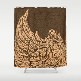 Garuda Batik Brown I Shower Curtain