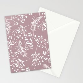 Modern mauve pink white hand painted floral Stationery Cards