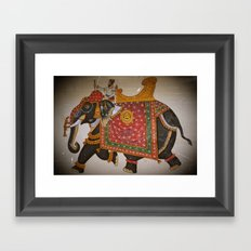 Elephant and mahout (Mewar style) Framed Art Print