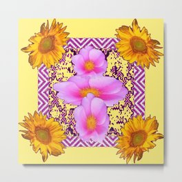 Roses & Yellow Sunflowers - purple Abstract Metal Print