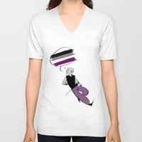 asexual V-neck T-shirts featuring Asexual Pride by Error