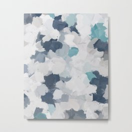 Navy Indigo Turquoise Blue White Gray Mint Abstract Air Clouds Painting Art Print Wall Decor  Metal Print