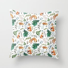 Foxes and Ferns Pattern Throw Pillow
