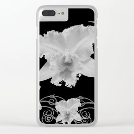 WHITE CATTLEYA ORCHIDS IN BLACK & WHITE ART Clear iPhone Case