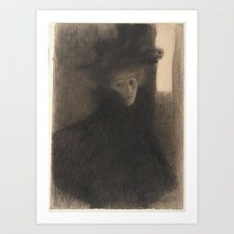 Portrait of a Lady with Cape and Hat Art Print