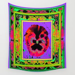 Exotic Red Pansy in  Green-Lavender-Rose-Yellow Color Patterns Abstract Wall Tapestry