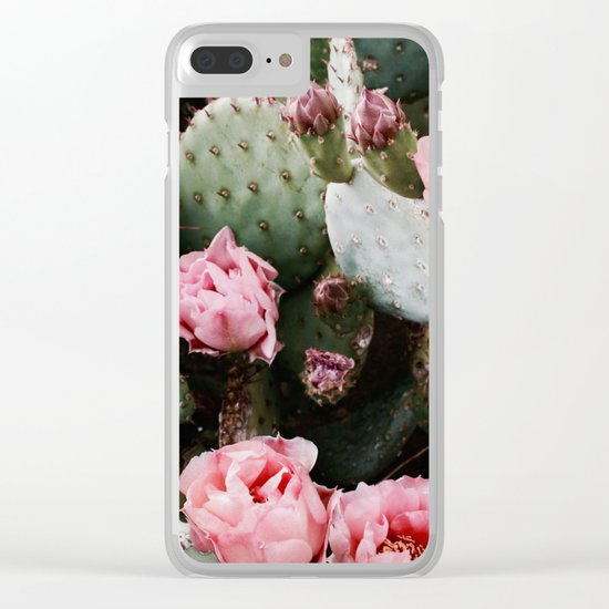 PINK CACTUS FLOWER ABSTRACT CLUSTER PATTERN Clear iPhone Case