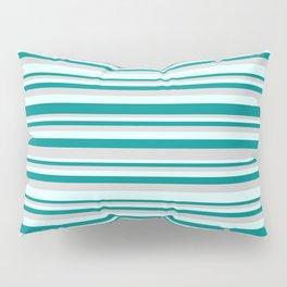 Light Grey, Light Cyan, and Dark Cyan Colored Stripes Pattern Pillow Sham