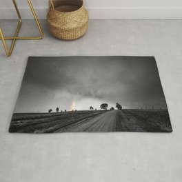 Down the Road - Colorful Rainbow Under Storm Clouds Down Dirt Road in Kansas Rug