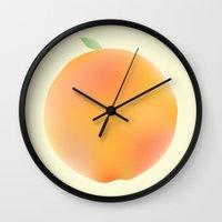 peach Wall Clocks featuring Peach by Jonah Grindler