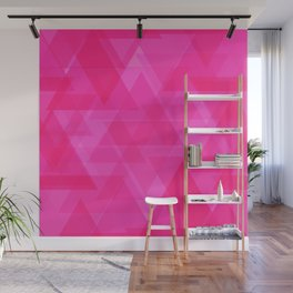 Bright pink triangles in intersection and overlay. Wall Mural