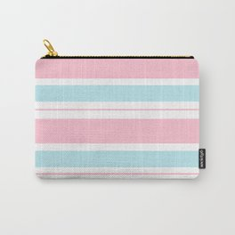 Pink Pastel Frosted Mint Blue Stripes Carry-All Pouch