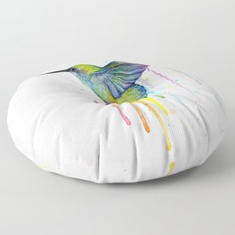 Hummingbird Rainbow Watercolor Floor Pillow