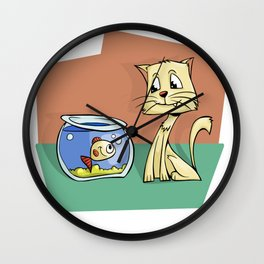 Cat and Goldfish Friends Story Illustration Wall Clock