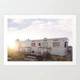 El Cosmico RV Trailer in Marfa, Texas Art Print