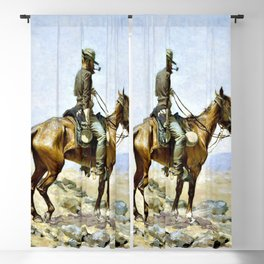 12,000pixel-500dpi - Frederic Remington - The Lookout - Digital Remastered Edition Blackout Curtain
