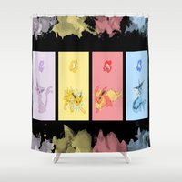eevee Shower Curtains featuring Evolutions, Part I by David Flamm