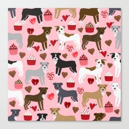 Pitbull valentine dog love rescue dogs valentines day hearts cupcakes dog gifts Canvas Print