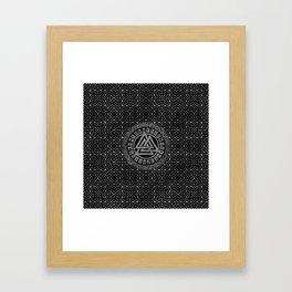Silver Metallic Valknut Symbol on Celtic Pattern Framed Art Print