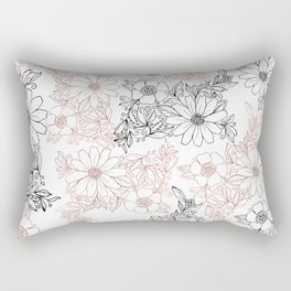 Hand drawn black faux rose gold floral Rectangular Pillow