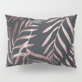 Rose Gold Leaves on Dark Gray Black Pillow Sham