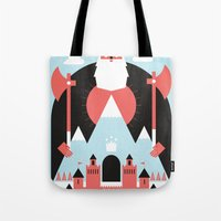 king Tote Bags featuring King of the Mountain by Chase Kunz